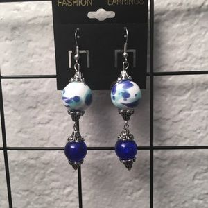 New. Blue and white Earrings